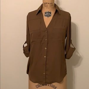 Express Slim Portofino Shirt Blouse Green Brown XS